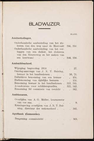 Breda - Indexen op de notulen van de gemeenteraad 1914-01-01