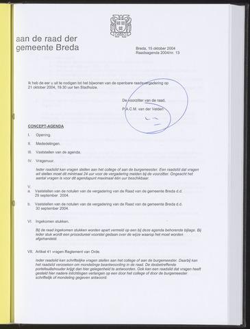 Breda - Bijlagen bij de notulen van de gemeenteraad 2004-10-15