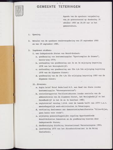 Teteringen - Notulen en bijlagen van de gemeenteraad 1980-10-30