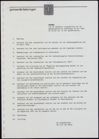 Teteringen - Notulen en bijlagen van de gemeenteraad 1991-05-30