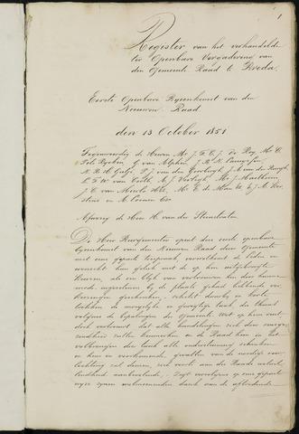Breda - Notulen van de gemeenteraad 1851-01-01