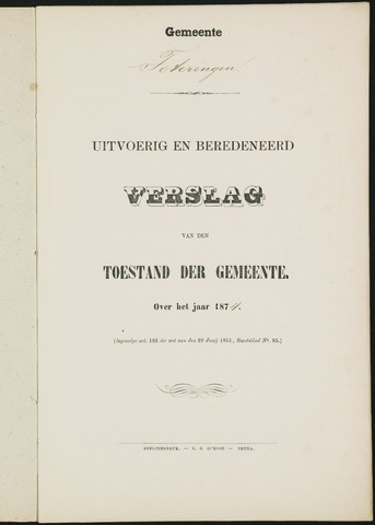 Teteringen - Verslagen van de toestand van de gemeente 1874