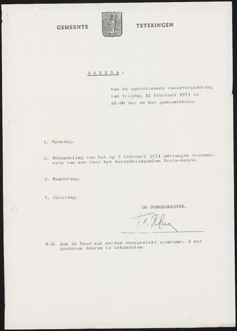 Teteringen - Notulen en bijlagen van de gemeenteraad 1971-02-12