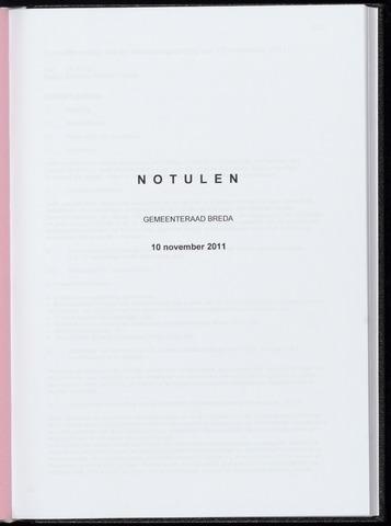 Breda - Notulen van de gemeenteraad 2011-11-10
