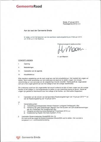 Breda - Bijlagen bij de notulen van de gemeenteraad 2015-02-05