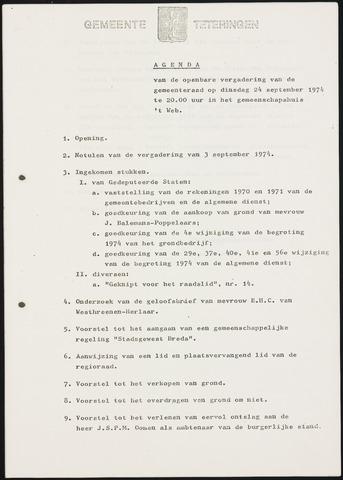 Teteringen - Notulen en bijlagen van de gemeenteraad 1974-09-24