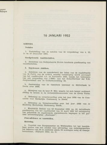Breda - Notulen van de gemeenteraad 1952-01-01