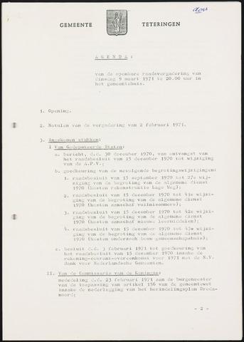 Teteringen - Notulen en bijlagen van de gemeenteraad 1971-03-09