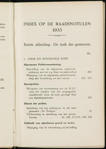 Breda - Indexen op de notulen van de gemeenteraad 1933-01-01