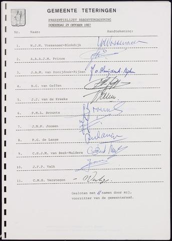 Teteringen - Notulen en bijlagen van de gemeenteraad 1987-10-29