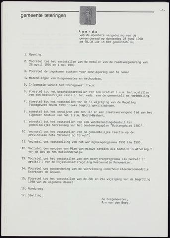 Teteringen - Notulen en bijlagen van de gemeenteraad 1990-06-28