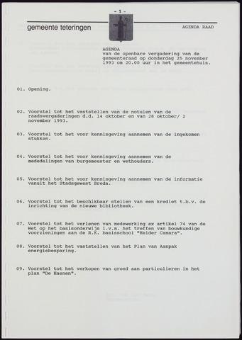 Teteringen - Notulen en bijlagen van de gemeenteraad 1993-11-25