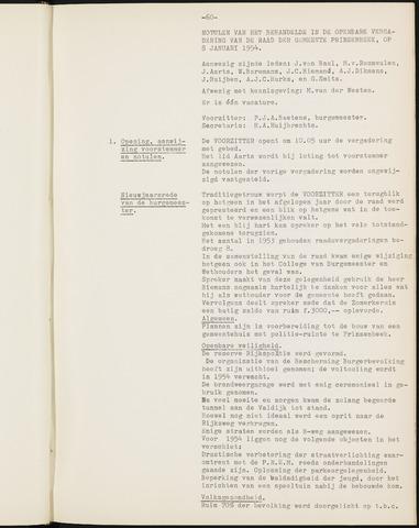 Prinsenbeek - Notulen van de gemeenteraad 1954