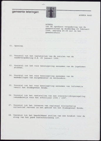 Teteringen - Notulen en bijlagen van de gemeenteraad 1996-02-29