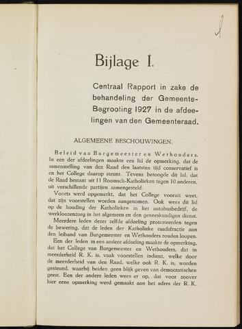 Breda - Bijlagen bij de notulen van de gemeenteraad 1927