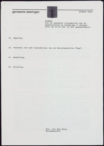 Teteringen - Notulen en bijlagen van de gemeenteraad 1994-10-20