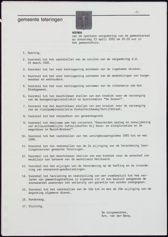 Teteringen - Notulen en bijlagen van de gemeenteraad 1992-04-23
