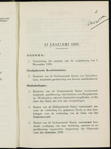 Breda - Notulen van de gemeenteraad 1939