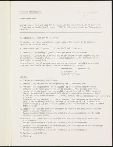 Prinsenbeek - Notulen van de gemeenteraad 1982