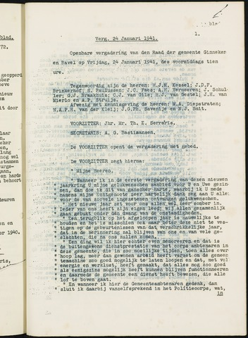 Ginneken en Bavel - Notulen van de gemeenteraad 1941-01-01