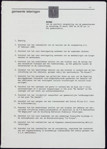 Teteringen - Notulen en bijlagen van de gemeenteraad 1992-03-26