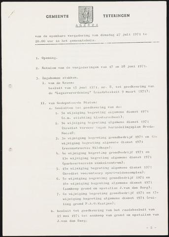 Teteringen - Notulen en bijlagen van de gemeenteraad 1971-07-27