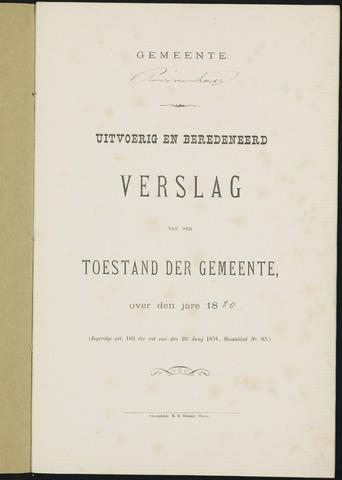 Princenhage - Verslagen van de toestand van de gemeente 1880