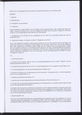Breda - Notulen van de gemeenteraad 2005-11-03