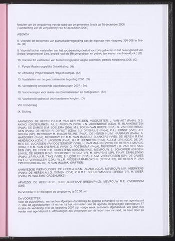 Breda - Notulen van de gemeenteraad 2006-12-18