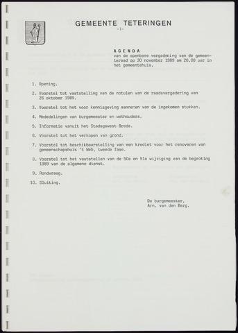 Teteringen - Notulen en bijlagen van de gemeenteraad 1989-11-30