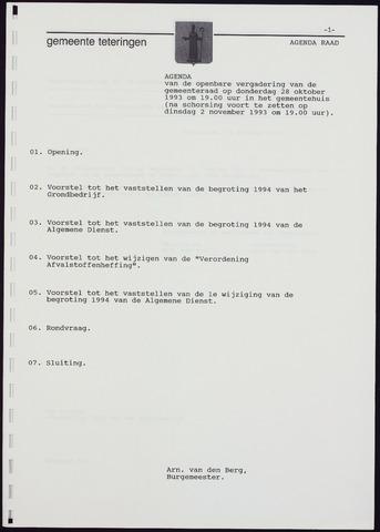Teteringen - Notulen en bijlagen van de gemeenteraad 1993-10-28
