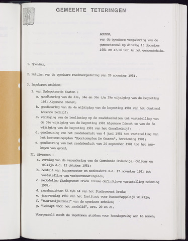 Teteringen - Notulen en bijlagen van de gemeenteraad 1981-12-15
