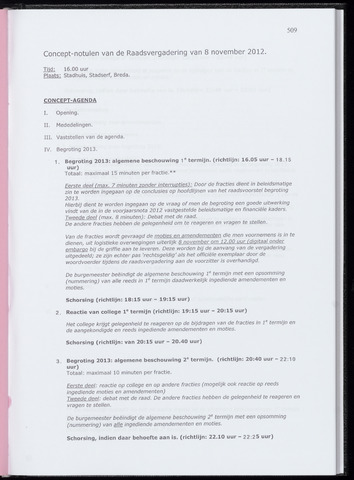Breda - Notulen van de gemeenteraad 2012-11-08