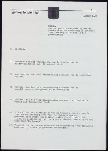 Teteringen - Notulen en bijlagen van de gemeenteraad 1996-11-28
