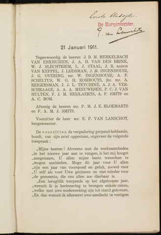 Breda - Notulen van de gemeenteraad 1911-01-01