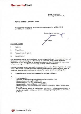 Breda - Bijlagen bij de notulen van de gemeenteraad 2015-06-25