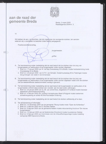 Breda - Bijlagen bij de notulen van de gemeenteraad 2005-03-02