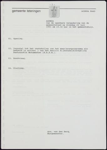 Teteringen - Notulen en bijlagen van de gemeenteraad 1993-06-29