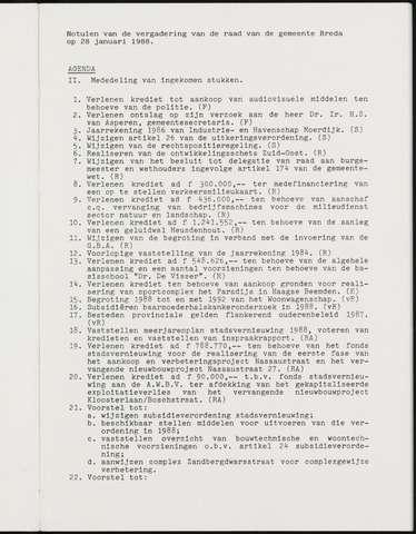 Breda - Notulen van de gemeenteraad 1988-01-01