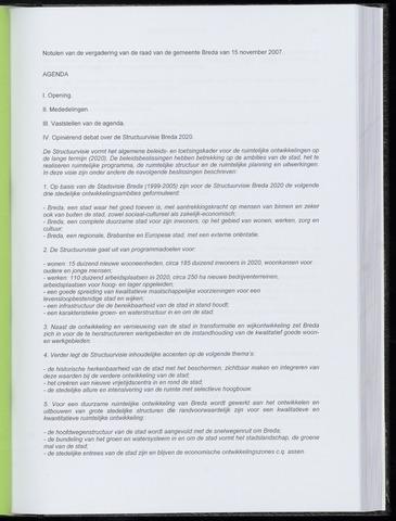 Breda - Notulen van de gemeenteraad 2007-11-15