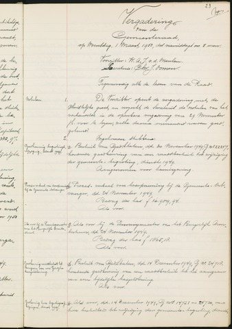Teteringen - Notulen en bijlagen van de gemeenteraad 1950