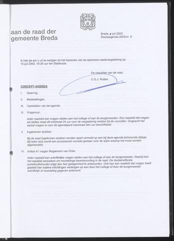 Breda - Bijlagen bij de notulen van de gemeenteraad 2003-06-04