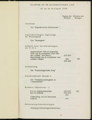 Breda - Indexen op de notulen van de gemeenteraad 1956