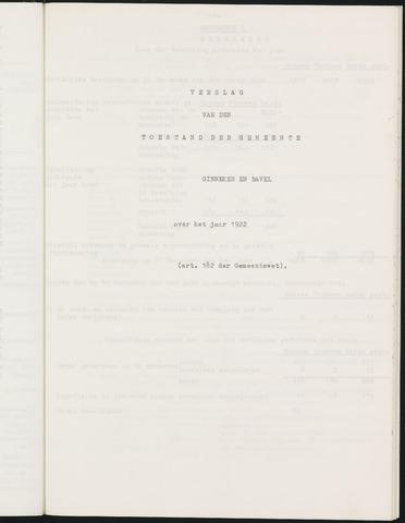 Ginneken en Bavel - Verslagen van de toestand van de gemeente 1922