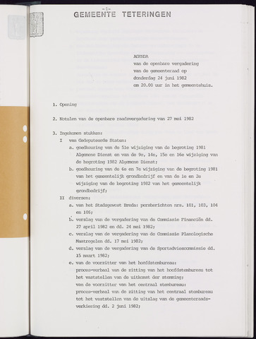 Teteringen - Notulen en bijlagen van de gemeenteraad 1982-06-24
