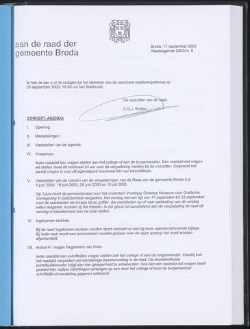 Breda - Bijlagen bij de notulen van de gemeenteraad 2003-09-17