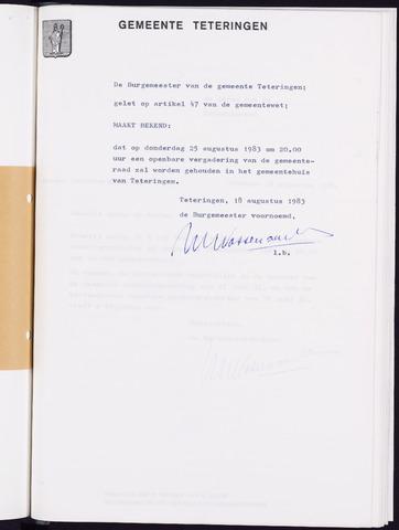 Teteringen - Notulen en bijlagen van de gemeenteraad 1983-08-25