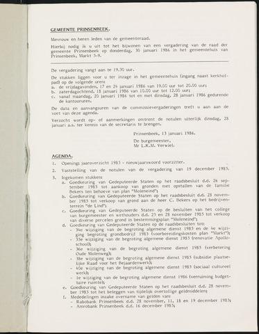 Prinsenbeek - Notulen van de gemeenteraad 1986