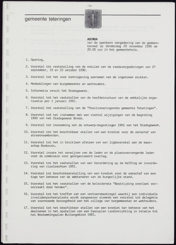 Teteringen - Notulen en bijlagen van de gemeenteraad 1990-11-29