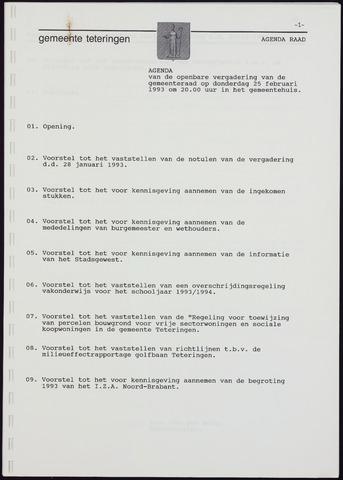 Teteringen - Notulen en bijlagen van de gemeenteraad 1993-02-25